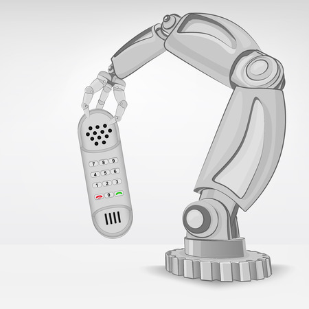 telephone hold by automated robotic hand vector illustration Vector