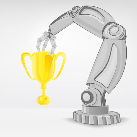 automated: champion cup hold by automated robotic hand vector illustration