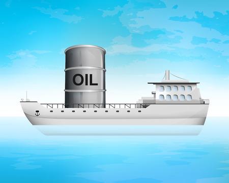 freighter: oil barrel on freighter deck transportation vector concept illustration Illustration