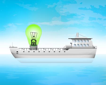 green light on freighter deck transportation vector concept illustration Vector