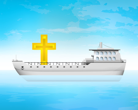 freighter: holy cargo on freighter deck transportation vector concept illustration