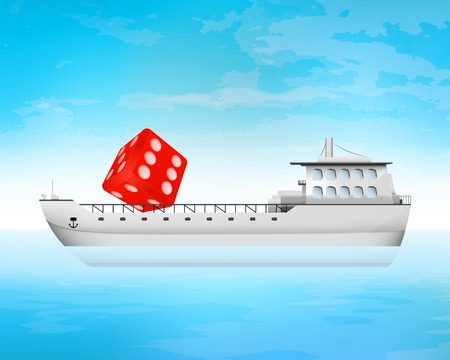 freighter: lucky red dice on freighter deck transportation vector concept illustration Illustration