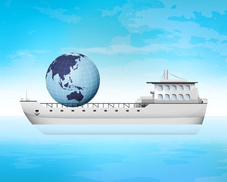 freighter: Asia trading on freighter deck transportation vector concept illustration Illustration