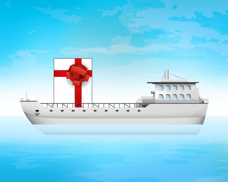 freighter: gift box on freighter deck transportation vector concept illustration