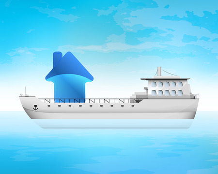 freighter: new house on freighter deck transportation vector concept illustration