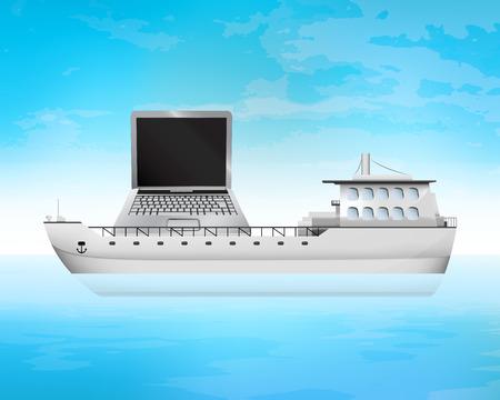 freighter: new laptop on freighter deck transportation vector concept illustration