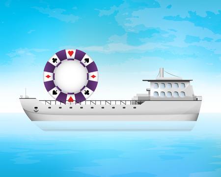 freighter: poker chip on freighter deck transportation vector concept illustration