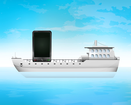 freighter: new smart phone on freighter deck transportation vector concept illustration