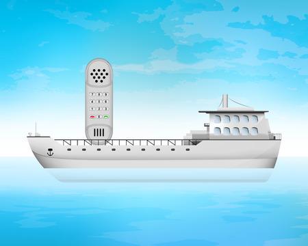 freighter: dial telephone on freighter deck transportation vector concept illustration Illustration