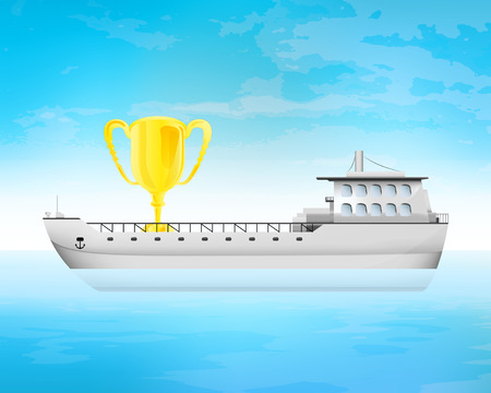freighter: golden champion cup on freighter deck transportation vector concept illustration