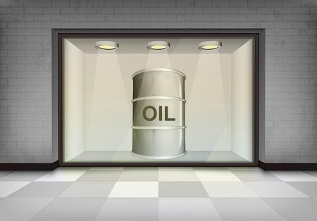 oil barrel in illuminated storefront vitrine vector concept illustration Vector