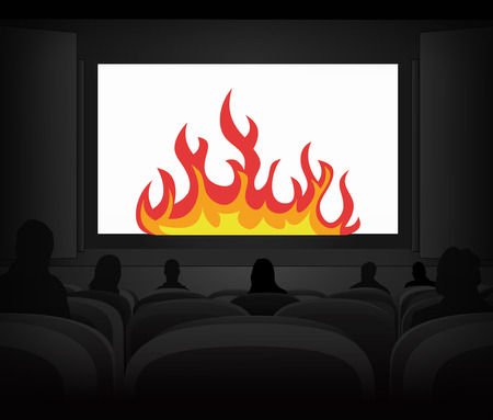 power projection: hell fire advertisement as cinema projection vector illustration