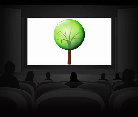 leafy tree nature advertisement as cinema projection vector illustration Vector