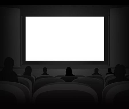 cinema screen: white black cinema screen with spectators in auditorium vector illustration