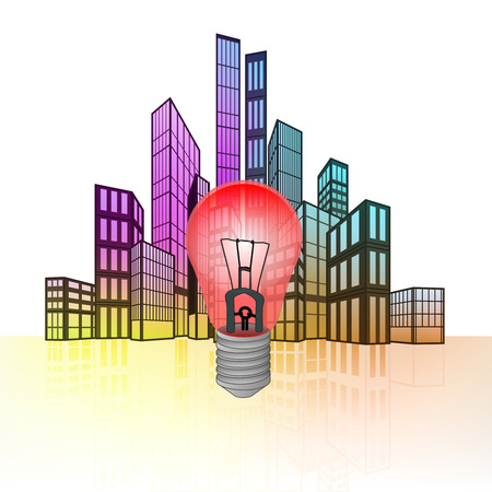 red light district: danger warning with colorful cityscape silhouette behind vector illustration Illustration