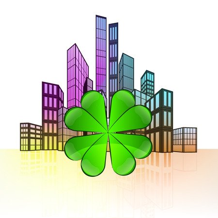 felicity: cloverleaf happiness with colorful cityscape silhouette behind vector illustration Illustration