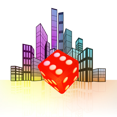 rolling landscape: lucky dice with colorful cityscape silhouette behind vector illustration