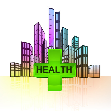 health care with colorful cityscape silhouette behind vector illustration Vector