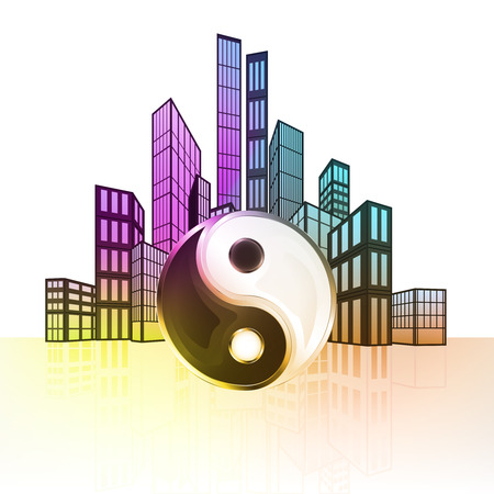 balance icon: mind balance icon with colorful cityscape silhouette behind vector illustration