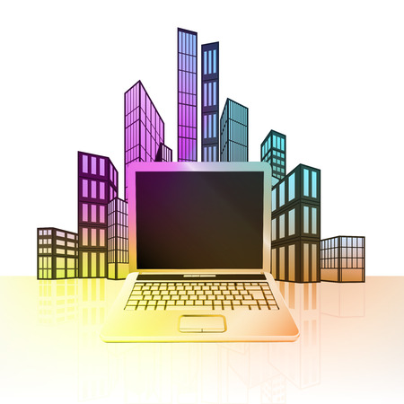 new laptop with colorful cityscape silhouette behind vector illustration Vector