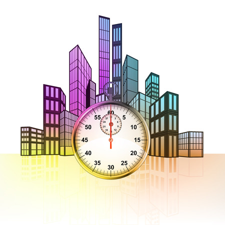 timescale: stopwatch with colorful cityscape silhouette behind vector illustration
