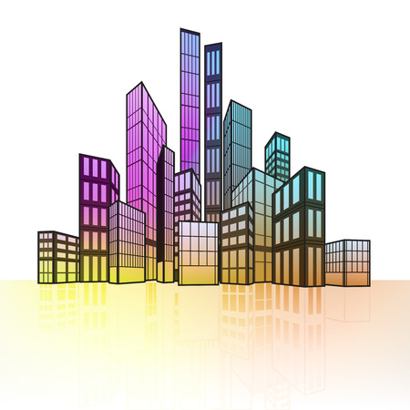 colorful cityscape silhouette with ground reflection vector illustration Vector