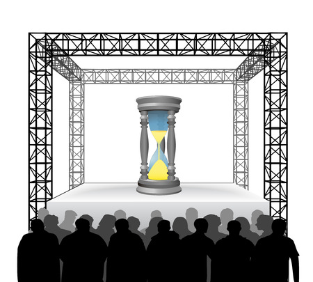 time running on festival stage with spectators isolated on white vector illustration Vector