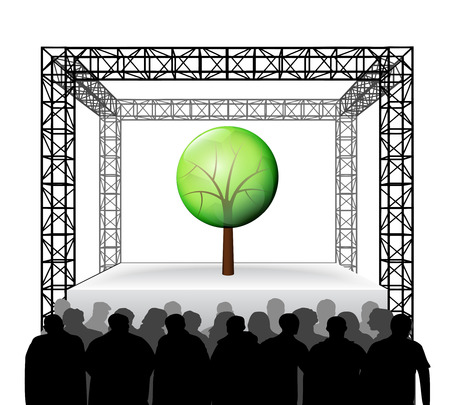 leafy tree nature on festival stage with spectators isolated on white vector illustration Vector