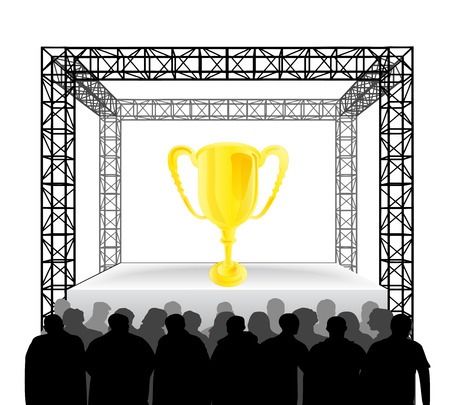 champion trophy on festival stage with spectators isolated on white vector illustration Vector