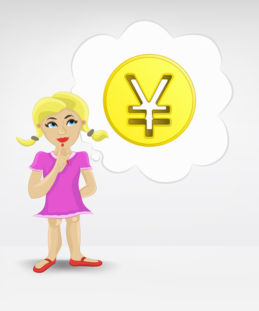 standing young girl thinking about Yuan money business vector illustration Stock Vector - 26638964