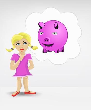 earnings: Stehen junge M�dchen, �ber Geld Ergebnis Vektor-Illustration Illustration