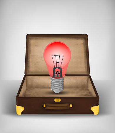 red bulb in open suitcase as danger travel concept vector illustration Vector