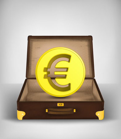 golden Euro coin in open travel suitcase holiday concept vector illustration Vector