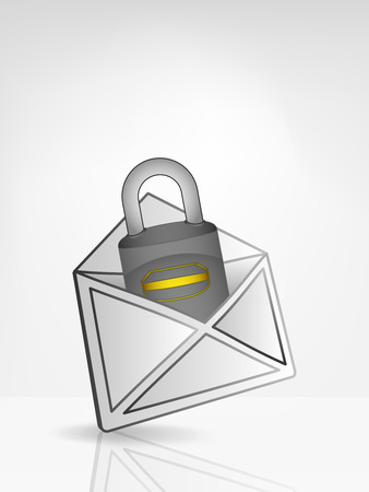 security padlock in opened white envelope or email message vector illustration Vector