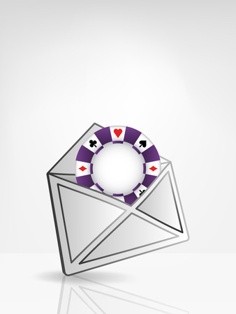 roulette online: poker chip in opened white envelope or email message vector illustration Illustration