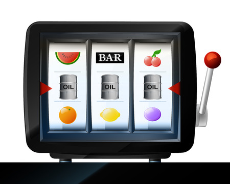 three oil barrel items on play machine frame vector illustration Vector