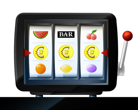 three Euro coin items on play machine as winning vector illustration Vector