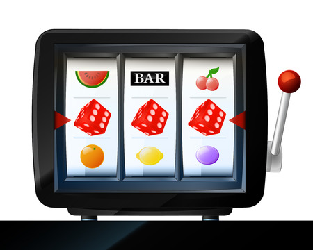 three lucky red dice items on play machine frame vector illustration Vector