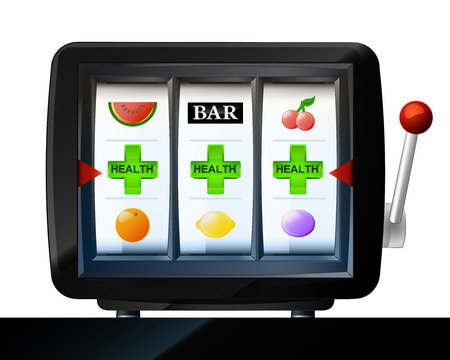 cross armed: three green cross  items on play machine as health win vector illustration