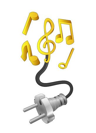 sound system: sistema de sonido con conexi�n enchufable listo para la ilustraci�n vectorial de potencia Vectores