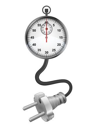 recarga: Tiempo de recarga con conexi�n enchufable listo para la ilustraci�n vectorial de potencia Vectores