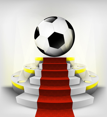 soccer ball exhibition on round illuminated podium vector illustration Vector
