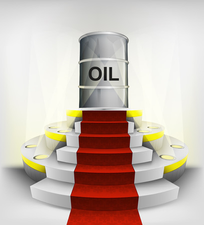 oil barrel exhibition on round illuminated podium vector illustration Vector