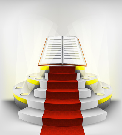 new book exhibition on round illuminated podium vector illustration Vector
