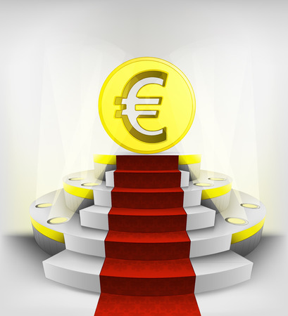 euro business exhibition on round illuminated podium vector illustration Vector