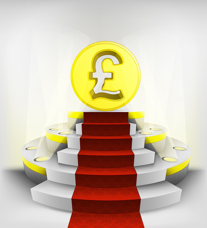 pound business exhibition on round illuminated podium vector illustration Vector