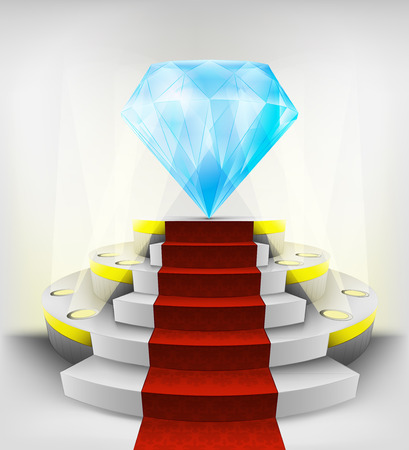 big diamond exhibition on round illuminated podium vector illustration Vector