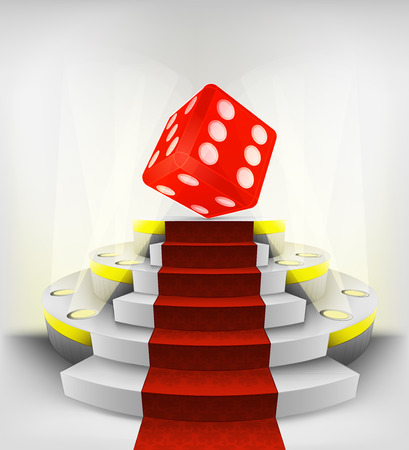 lucky red dice exhibition on round illuminated podium vector illustration Vector