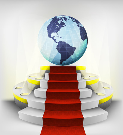 American countries exhibition on round illuminated podium vector illustration Vector