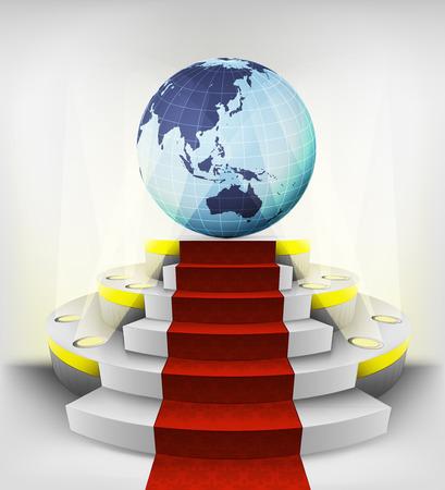 Asian countries exhibition on round illuminated podium vector illustration Vector